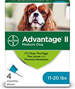 Advantage II 4-Dose Medium Dog Flea Prevention, Topical Flea Treatment for Dogs 11-20 Pounds