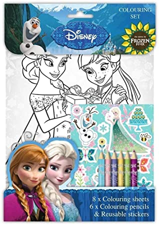Disney Princess Frozen Colouring Set Sheets Pencils Stickers