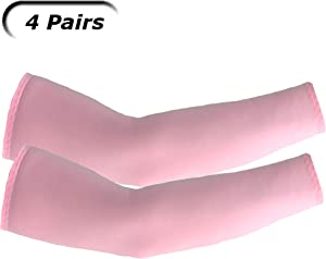 UV Arm Sleeves (4 Pairs) Pink - Universal Fit Sleeves to Protect Your Skin from Sun Exposure.