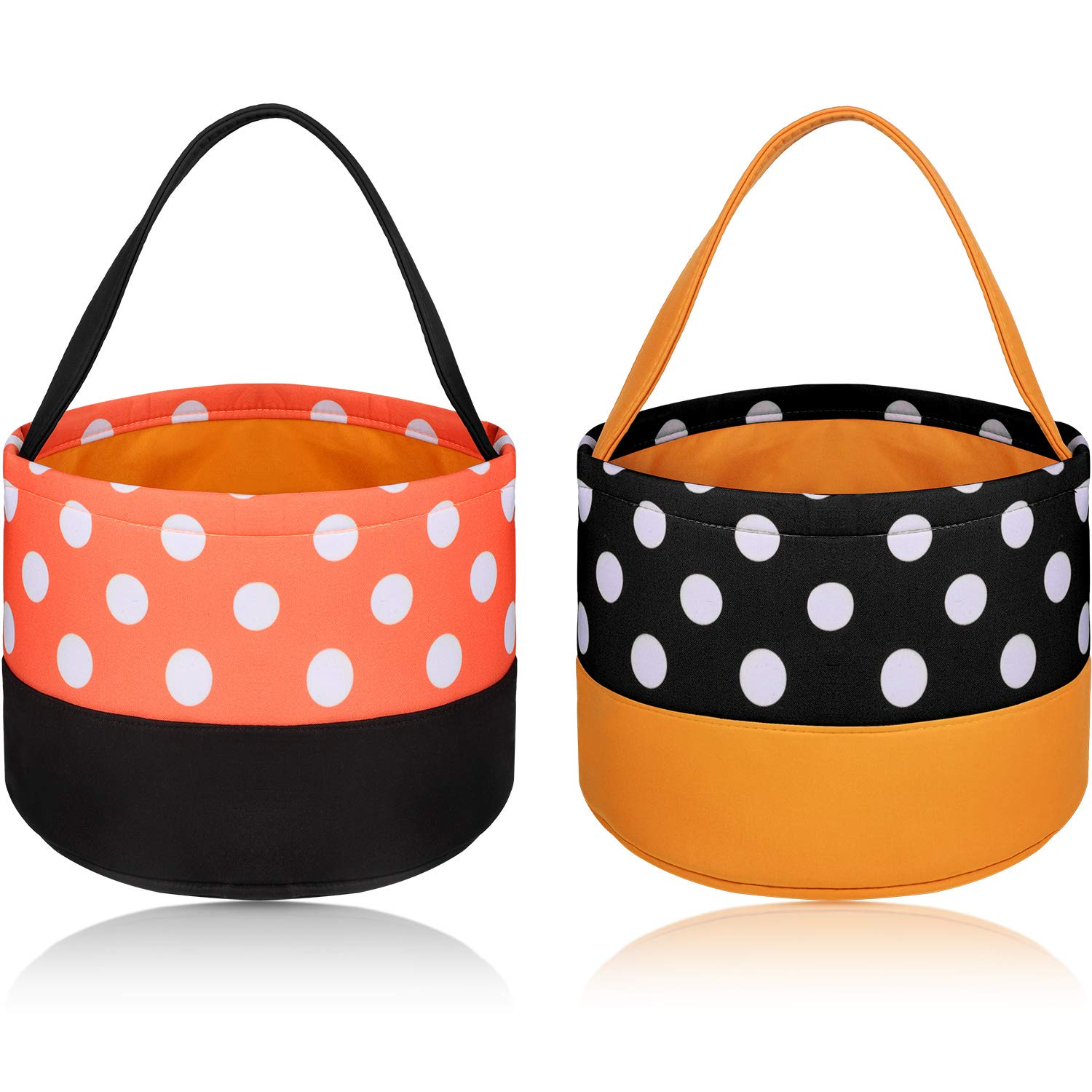 2 Pieces Trick or Treat Bags Halloween Candy Buckets Fabric Tote Gift Bags for Halloween Supplies, 2 Styles by Frienda