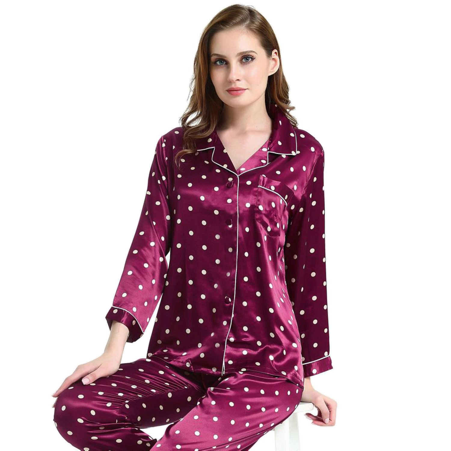 Womens Silk Satin Pajamas Set Sleepwear Loungewear XS~3XL Plus WDian1020
