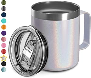 12oz Stainless Steel Insulated Coffee Mug with Handle, Double Wall Vacuum Travel Mug, Tumbler Cup with Sliding Lid, WHITE GLITTER