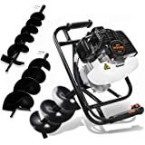 """DC HOUSE 52cc 2.4HP Gas Powered Post Hole Digger with Two Earth Auger Drill Bit 6"""" & 10""""Earth Digger"""