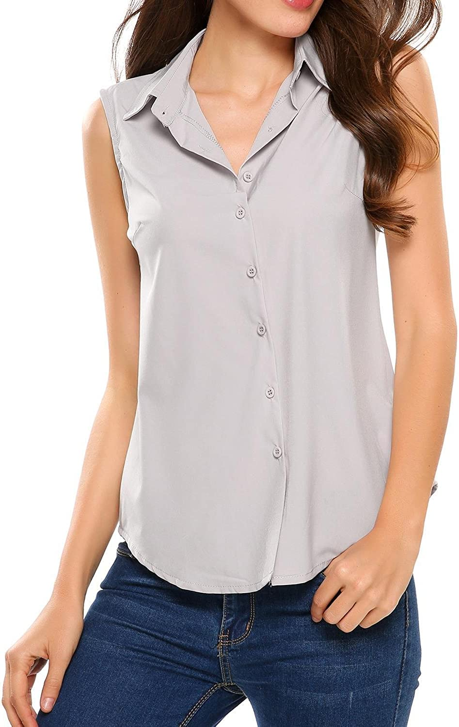XL, Gray Blouses For Women Fashion 2018 Womens Summer Tops Solid Button Short Sleeve T-Shirt