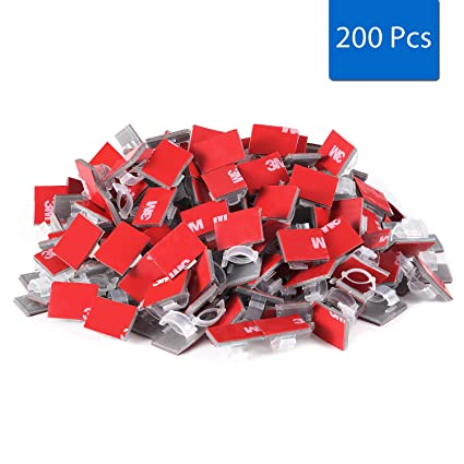 Amazon.com: 200 Pcs Homestarry Adhesive Cable Clips Wire Clips Cable ...