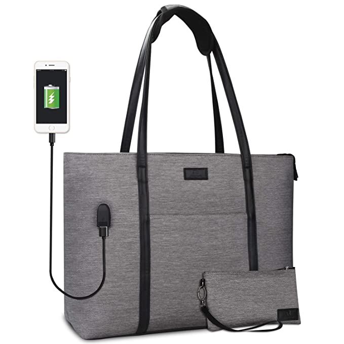Gray Laptop tote for teachers with usb charger