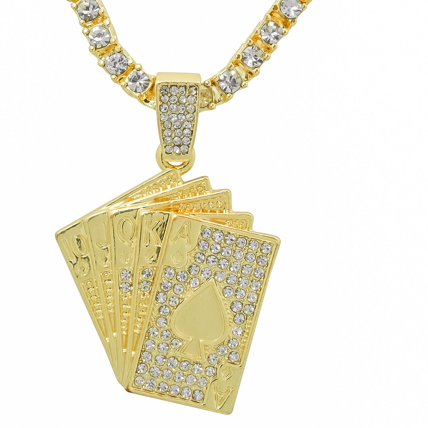 Gold-Tone Iced Out Hip Hop Bling Poker Spade Royal Flush Pendant With 24 Tennis Chain and 24 Rope Chain