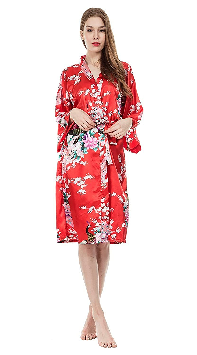 Women's Long Satin Kimono Robe Floral Printed Dressing Gown Bathrobe Nightwear with Belt