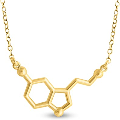 20 Azaggi Gold Plated Sterling Silver Handcrafted Chemical Structure of Serotonin Molecule Pendant Necklace
