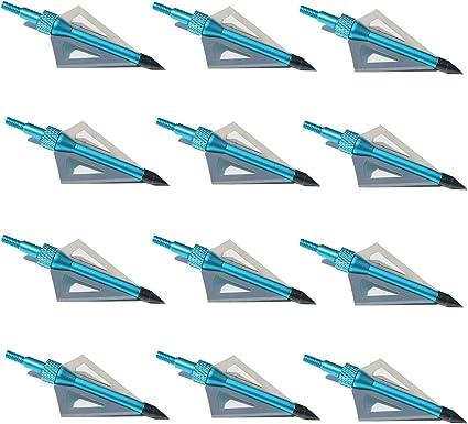 Archery Broadheads 100 Grain 3 Blade Arrow Heads Tips Shooting Point Blue 12Pcs