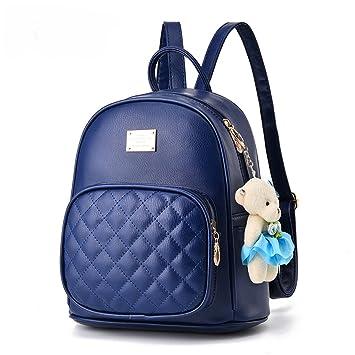 Flada PU mochilas de cuero para niñas casual Daypacks escuela mochilas con adornos osito de peluche: Amazon.es: Equipaje