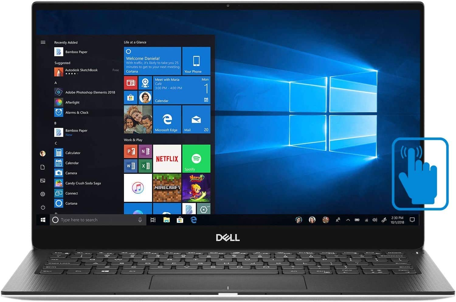 "Dell XPS 13 7390 Thin and Light 13.3"" InfinityEdge Touchscreen Laptop, Newest 10th Gen Intel i5-10210U up to 4.2GHz, 4GB RAM, 128GB PCIe SSD, Wi-Fi, Webcam, Fingerprint Reader, Windows 10 Home"