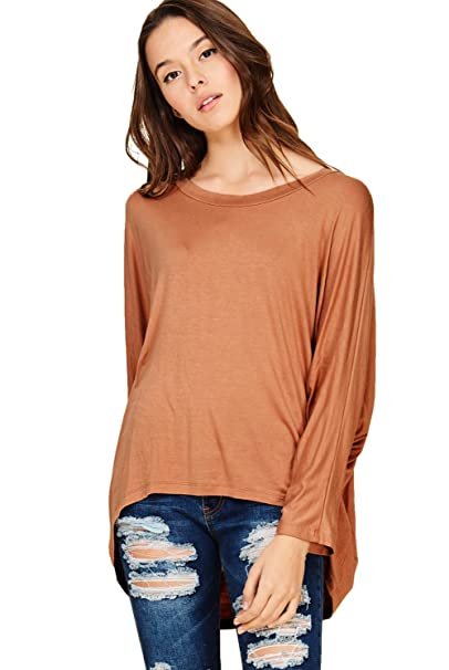 042f9395cd96f1 Annabelle Women s Comfy Oversized Long Sleeve Batwing Dolman Tunic Tops  Coffee Small T1181