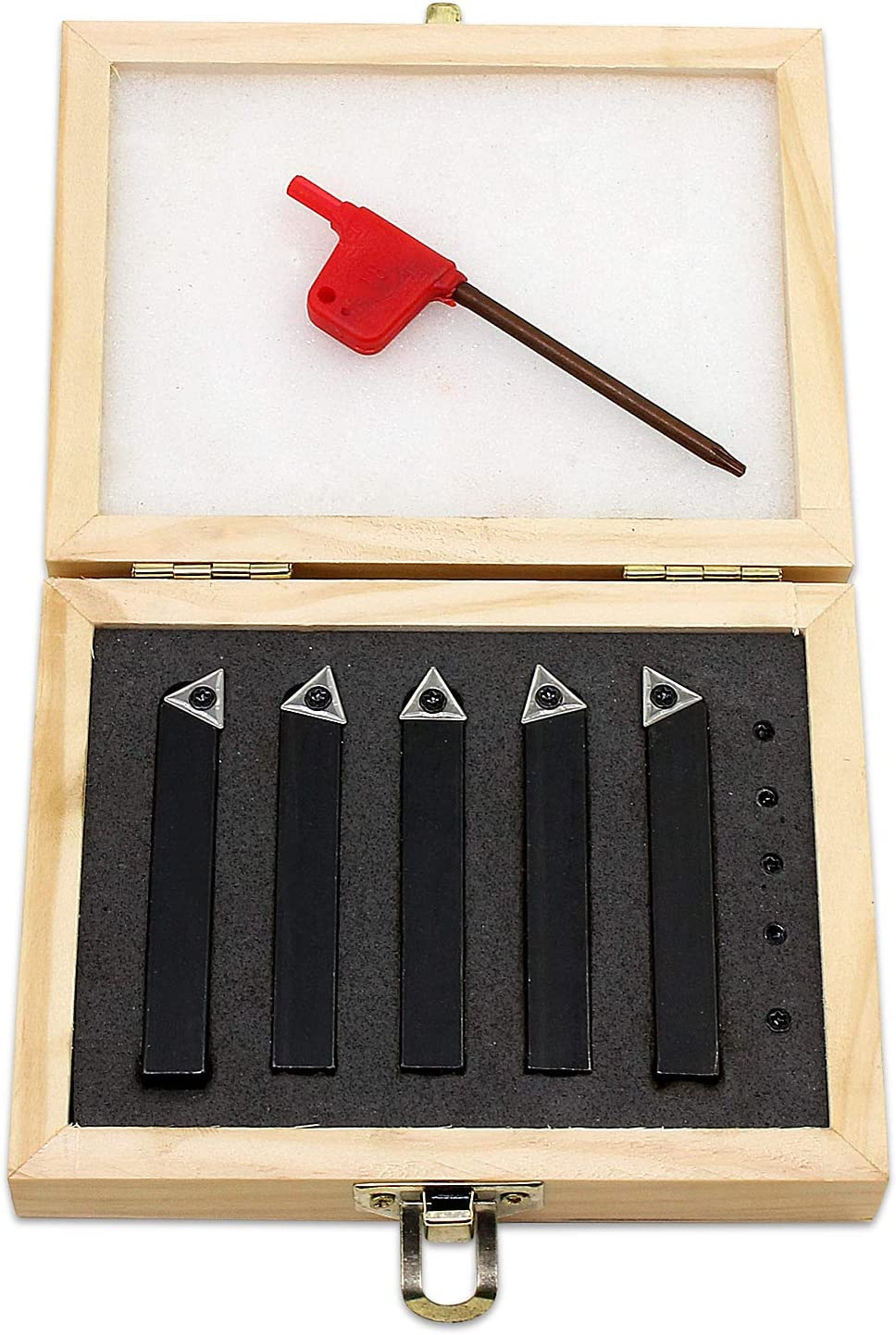HSeaMall 5 piezas de herramientas de torneado de carburo indexable para torno, 10 mm, con punta de 3/8 pulgadas, juego de herramientas para máquina ...