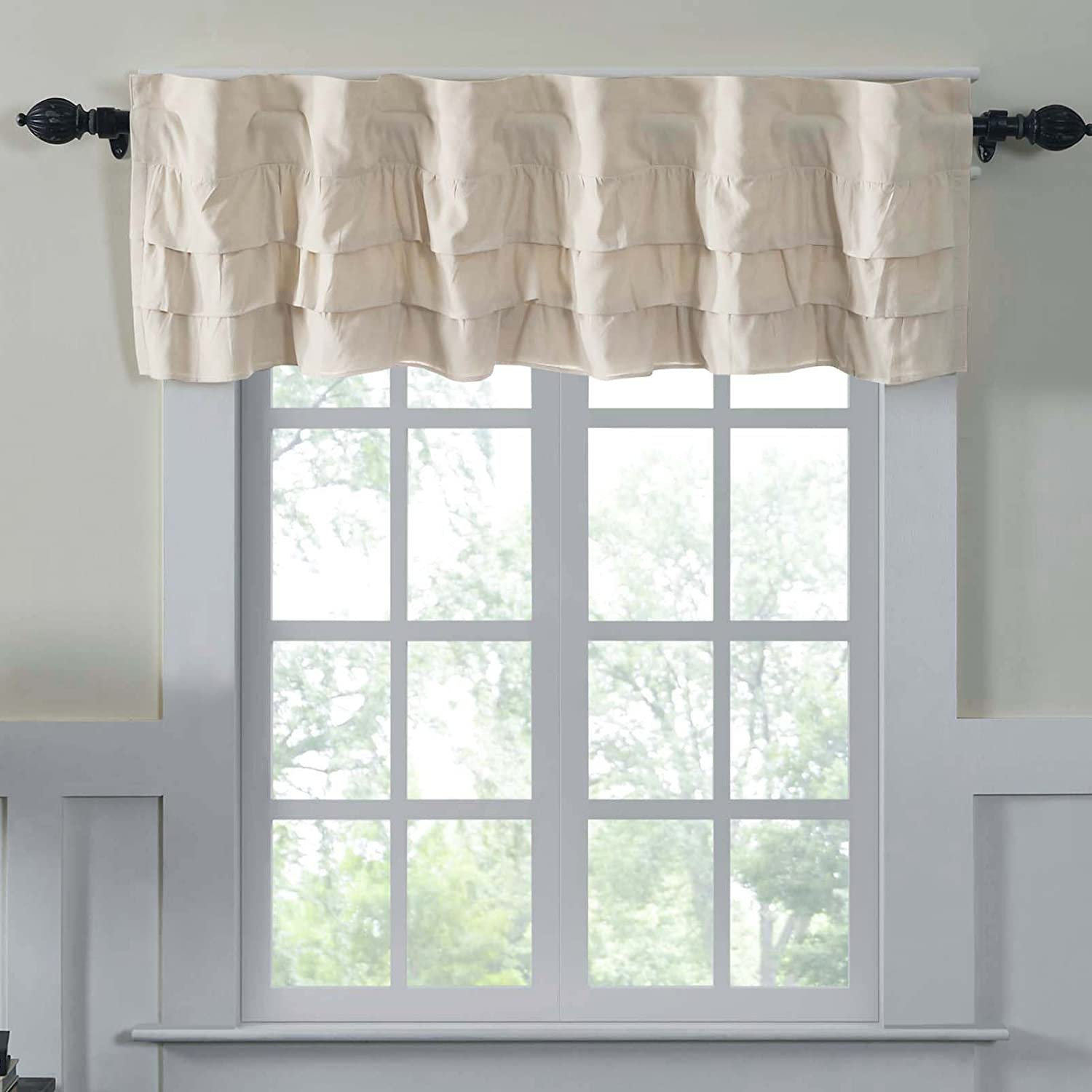 Piper Classics Ruffled Chambray Natural Lined Valance, 16x60, Farmhouse Decor Curtain VHC Brands