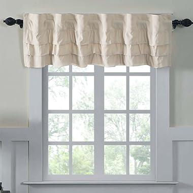 Piper Classics Ruffled Chambray Natural Lined Valance, 16x72, Farmhouse Decor Curtain