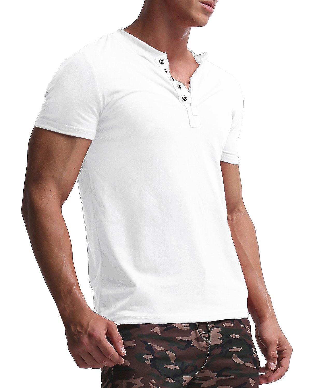 e3aadf9e9 MODCHOK Hombre Camiseta Manga Corta T-Shirt Cuello V B á sico Botones Color  S ó lido STYLEDOMECaaomufaFR925