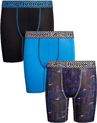 Reebok Boys Performance Quick Dry Compression Boxer Brief Pack of 8 Black//Royal Blue, Medium 8//10