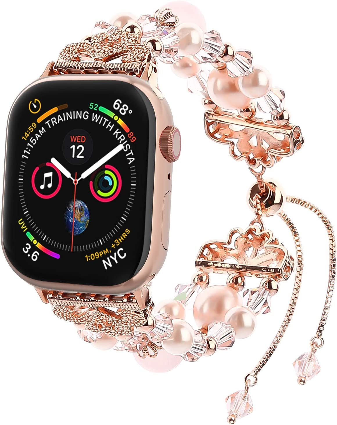 fohuas Compatible for Apple Watch Band 38mm 40mm, Adjustable iWatch beaded Bracelet Crystal Pearl Women Girl Elastic Jewelry Replacement Wristband Strap for iWatch Series SE 6 5 4 3 2 1, Rose Gold