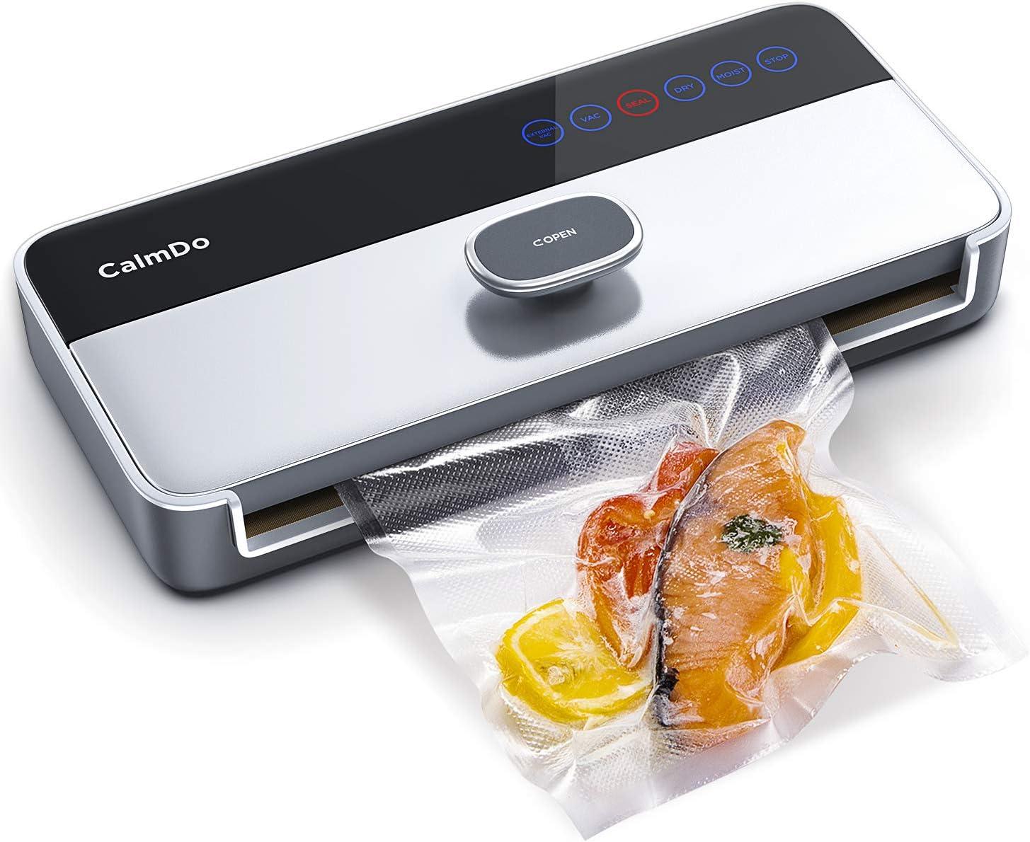 CalmDo Envasadora al Vacío Automático para Alimentos, CD-V001 6 en 1 Sellador al Vacío Profesional Seco y Húmedo 120W con Rollo Bolsas y Tubo para Uso Doméstico