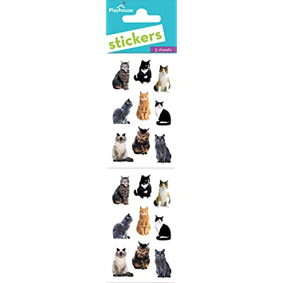 Playhouse Pretty Kitties Pack of Three Perforated Sticker Half-Sheets: Arts, Crafts & Sewing