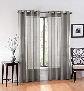 Amazon.com: HLC.ME 2 Piece Sheer Window Curtain Grommet Panels ...