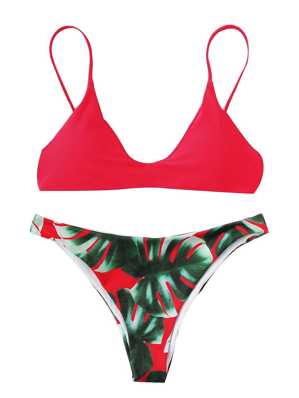 TALLA M. SOLY HUX Bikini de Triángulo con Estampado de Palma+2 PCS Traje de Baño 2018 Verano