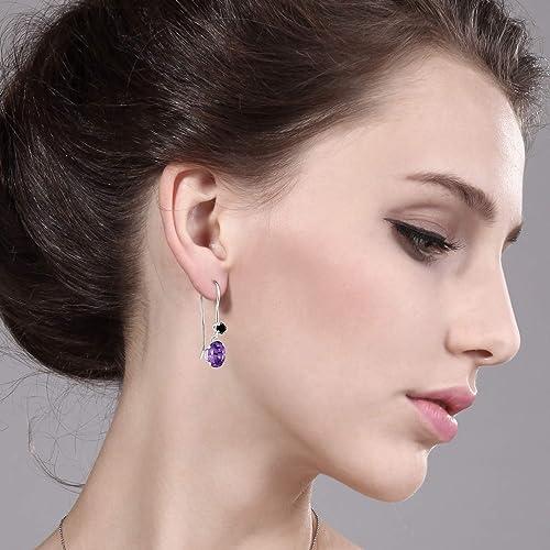 Gem Stone King 1.52 Ct Oval Purple Amethyst Black Diamond 925 Sterling Silver Earrings