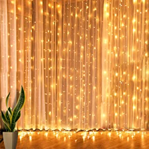 Curtain String Lights, 6.6x6.6 ft, 200 LED, 8-Lighting Modes Twinkle Lights, String Lights for Bedroom, Patio, Wedding and Christmas Decorations, Warm White