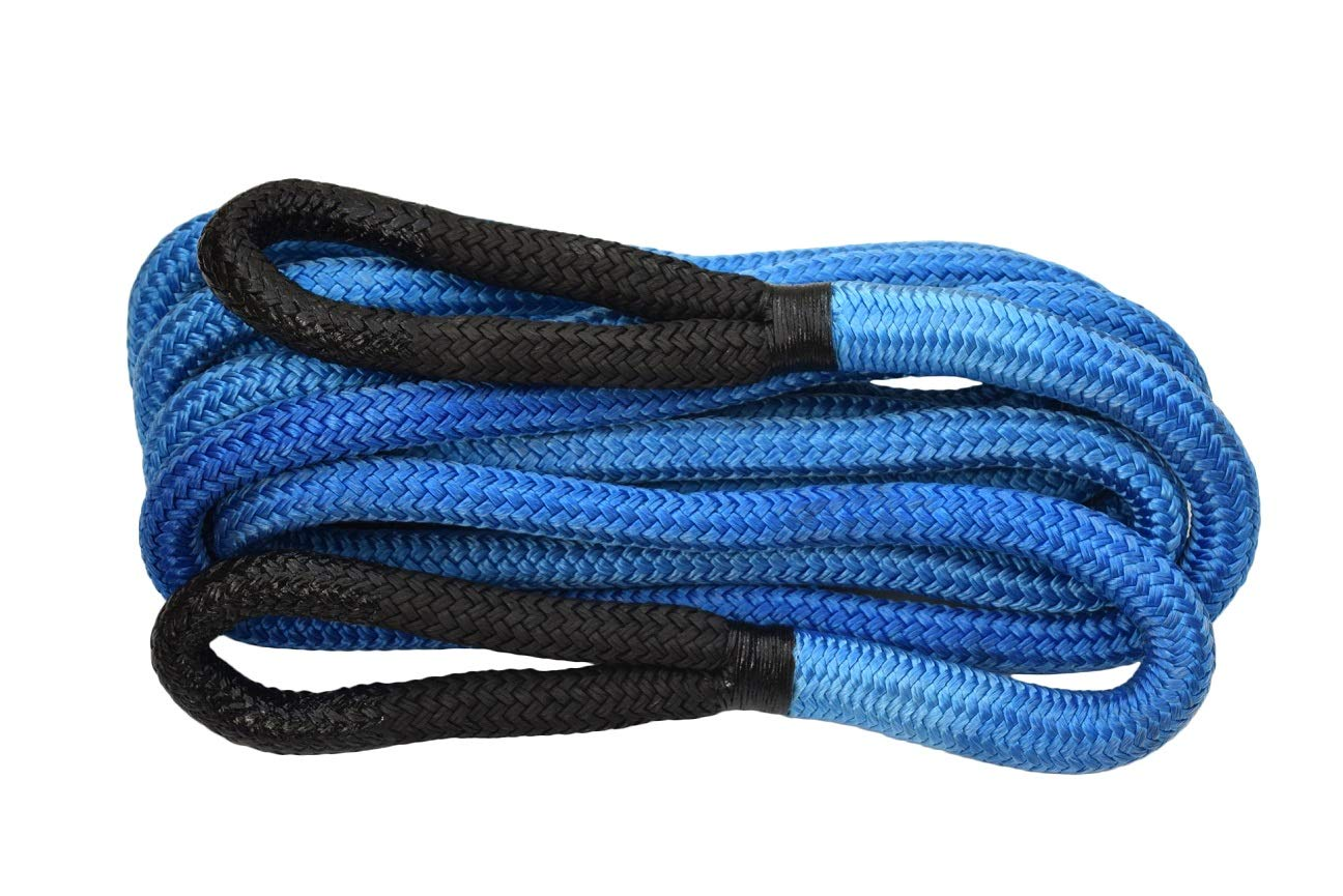 Energy Rope,Kinetic Rope 75000lbs,Towing Ropes QIQU 1/×30ft Recovery Rope Blue