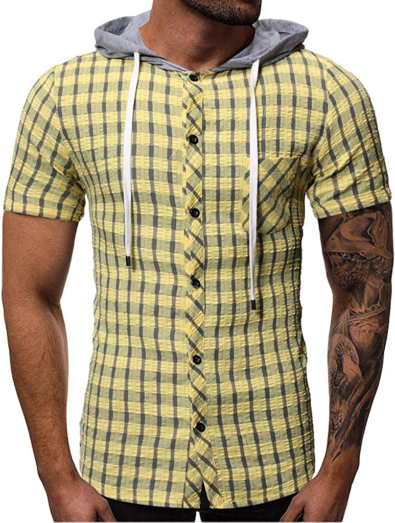Jofemuho Mens Loose Button Front Short Sleeve Plaid Print Dress Shirts with Pocket