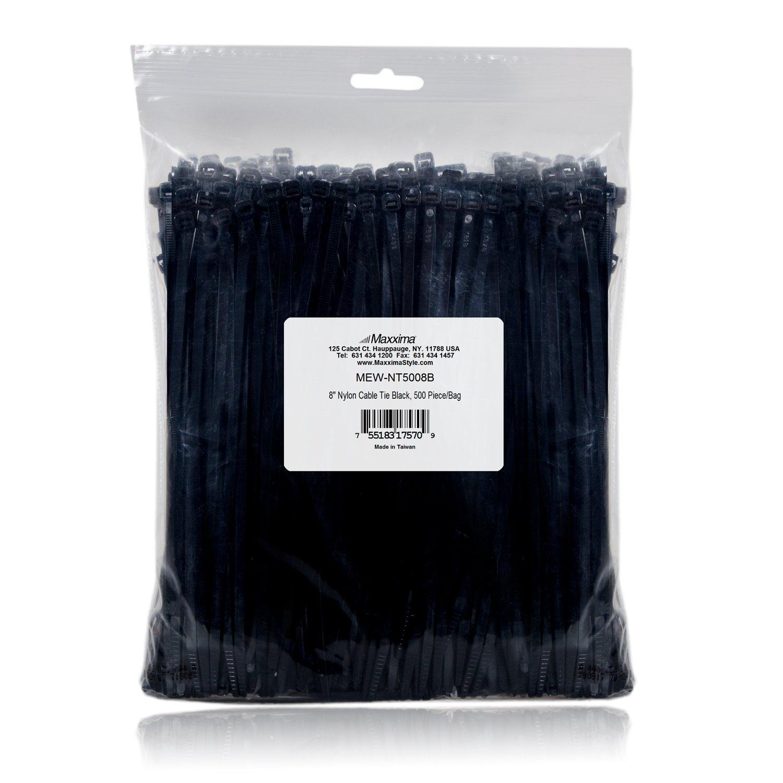 Maxxima 8 Inch Nylon Cable Tie Multipurpose Zip Ties 500 Pack
