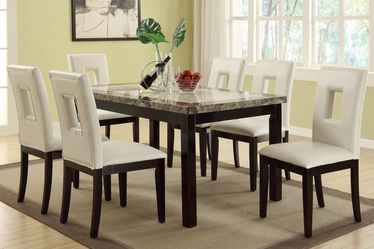 Amazon.com   Poundex F2094 U0026 F1052 Faux Marble Top W/ White Leatherette Chairs  Dining Set   Table U0026 Chair Sets