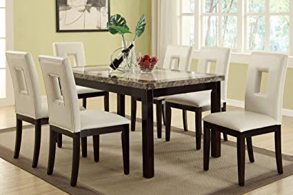 Merveilleux Poundex F2094 U0026 F1052 Faux Marble Top W/White Leatherette Chairs Dining Set