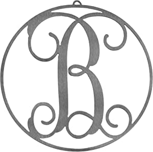 Rusted Orange Craftworks Co. Metal Letter Decor - Monogram of B - 10 x 10 inches | for Wall or Door - Family Initial - Rustic Signs - Outdoor or Indoor Decoration - Made in The USA