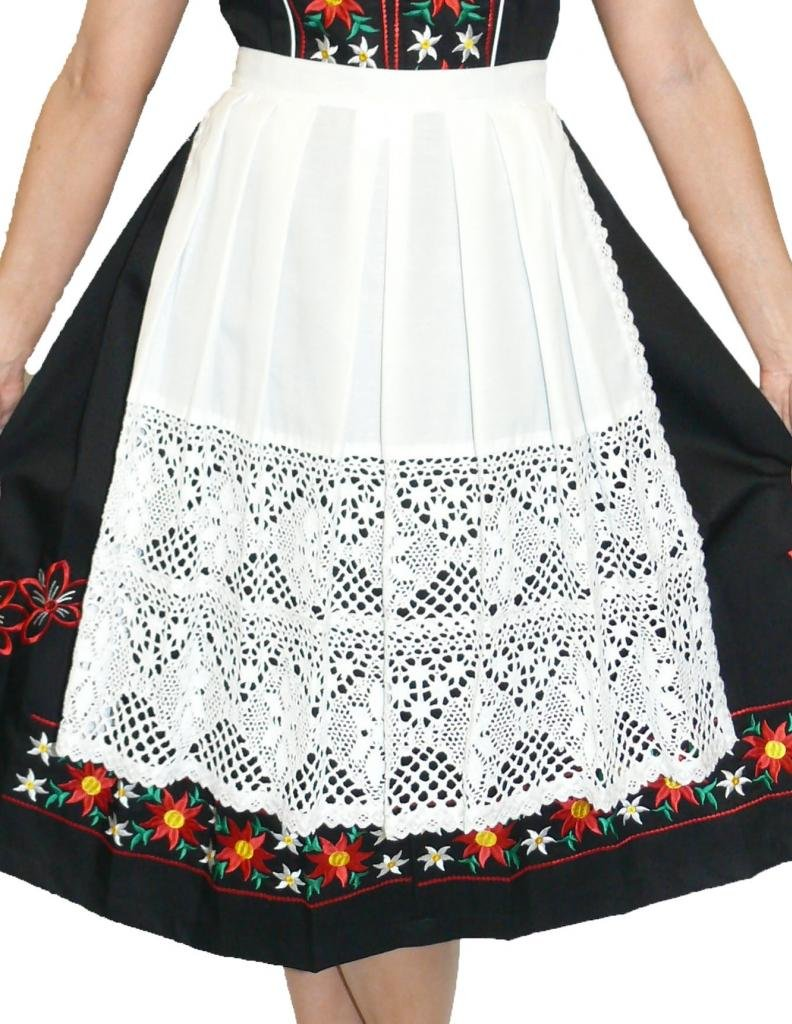 German Long White Lace Apron for Dirndl (13'' (US size 0-8))