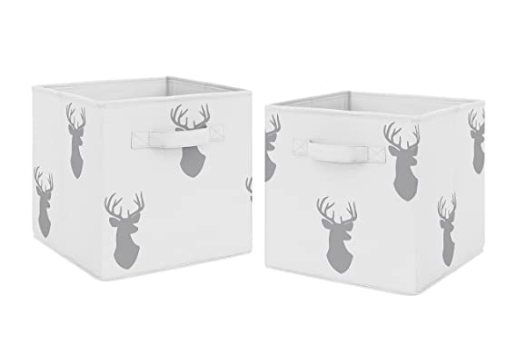 Floral Deer Fabric Bin Kid/'s Personalized Bedroom Baby Nursery Organizer for Toys or Clothing FB0463