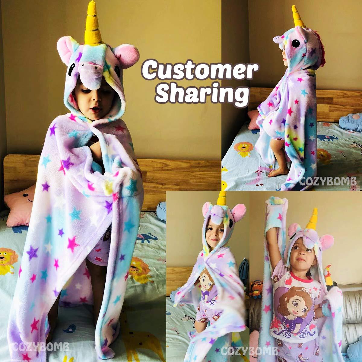 CozyBomB Rainbow Unicorn Blanket for Girls - Wearable Fleece Soft Throw Blanket for Kids Girl - Cute Hooded Plush Bathrobe Cozy Wrap with Hood Sleep Pretend Play age 3 4 5 6 Year Old Christmas Costume by CozyBomB