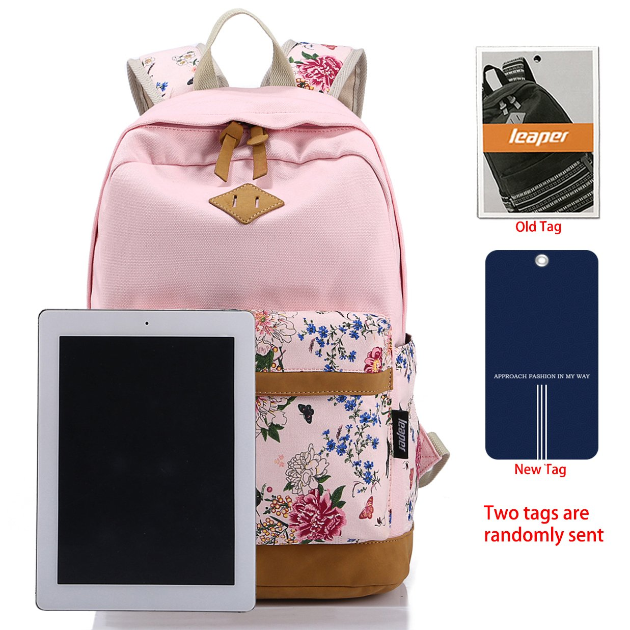 Leaper casual style lightweight canvas laptop backpack cute travel leaper casual style lightweight canvas laptop backpack cute travel school college shoulder bagbookbagsdaypack for teenage girlsstudentswomen with laptop fandeluxe Choice Image