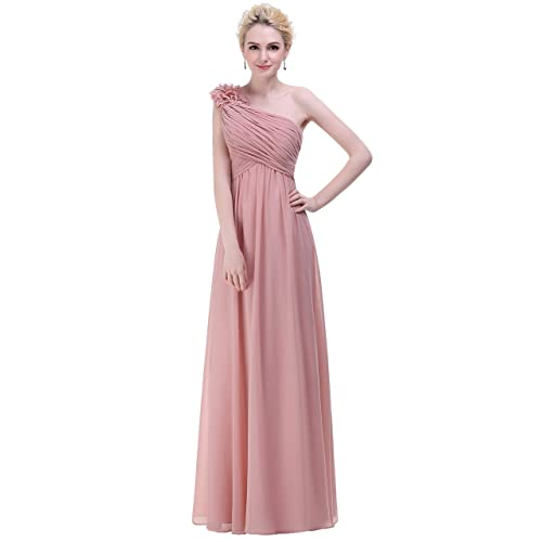 Bislu Flowers One Shoulder Long Prom Evening Party Bridesmaids Dress