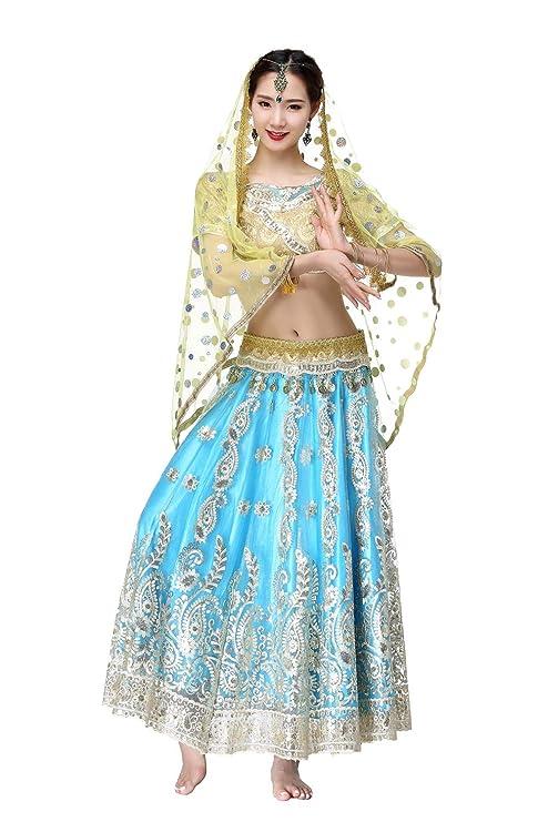 DRESSS Disfraz de Sari Indio para Danza del Vientre para ...