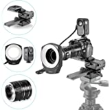 Neewer Macro Auto Focus Extension Tubes Set,48 Marco LED Ring Light with 6 Adapter Rings and 4 Way Macro Focusing Rail Slider for Canon DSLR Camera Close-up Macro Photography Shooting