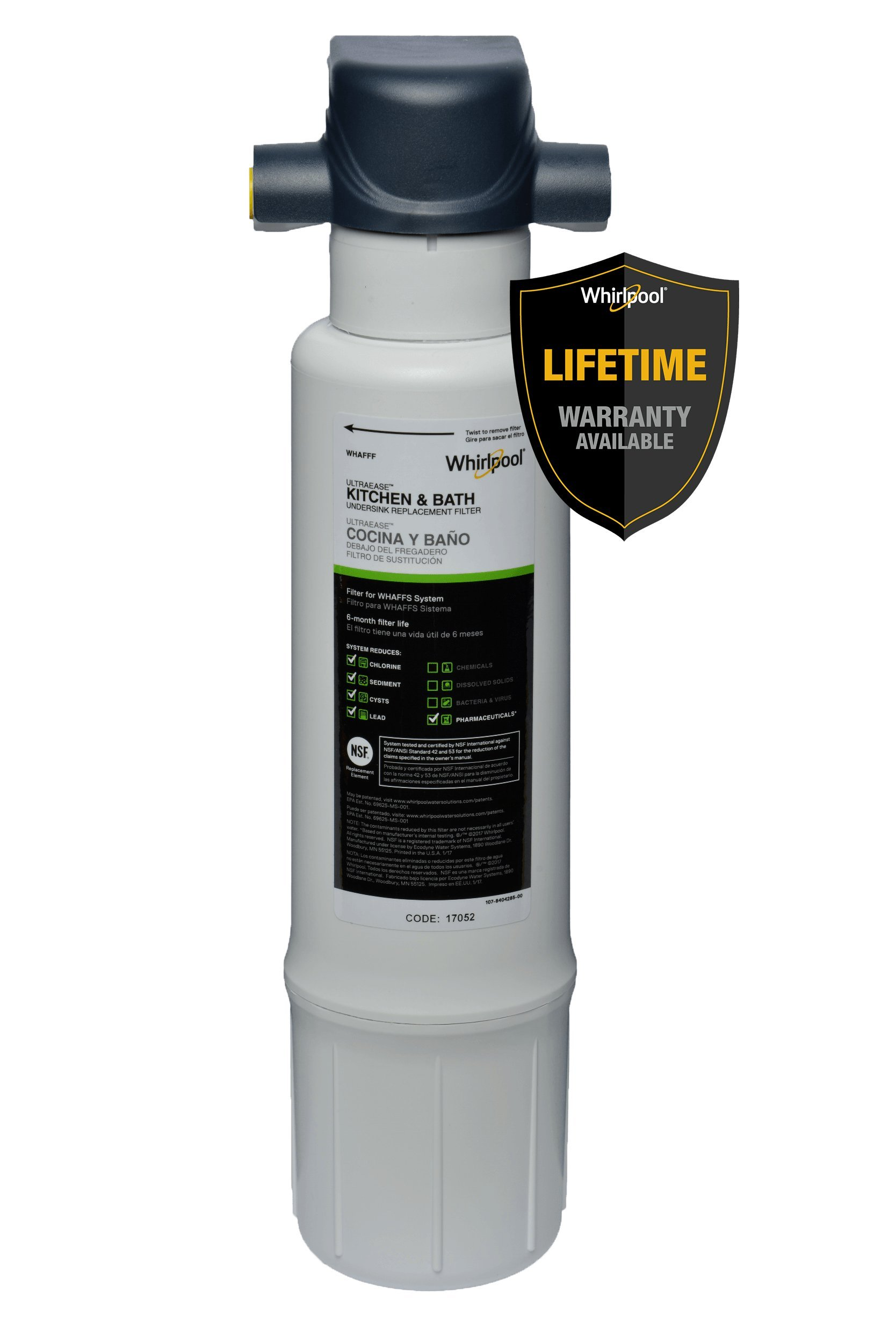 Whirlpool WHAFFS Kitchen and Bathroom Under Sink Water Filtration System, Blue by Whirlpool