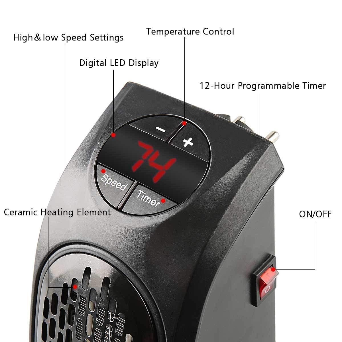 Estufa Eléctrica Calefactor Mini Portátil Handy Heater 350W Bajo Consumo Temperatura Regulable Baño Casa Oficina Enchufe UE: Amazon.es: Bricolaje y ...
