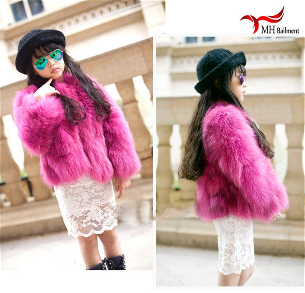 QMFUR New Girls 100% Real Sliver Fox Fur Coat Jacket (8-9 Years Old, Red) by qmfur (Image #5)