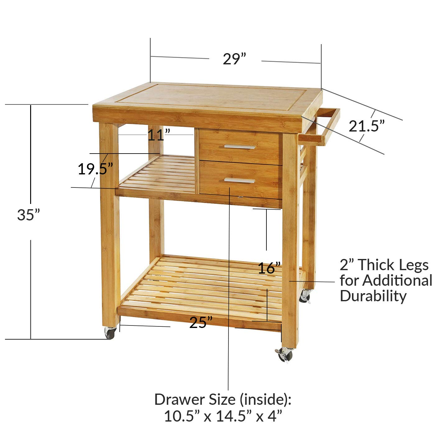 Clevr Rolling Bamboo Wood Kitchen Island Cart Trolley, Cabinet w Towel Rack Drawer Shelves