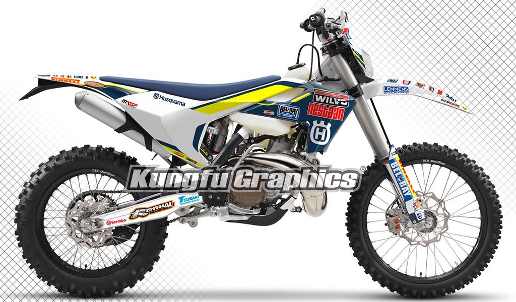 Kungfu Graphics Custom Decal Kit for Husqvarna FS 450 2017 2018, Blue White Yellow