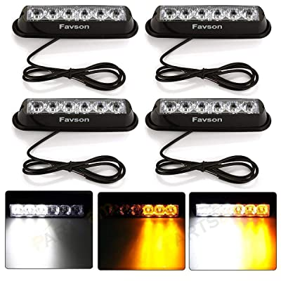 Favson 6 LED Strobe Lights for Trucks Cars Van with Super Bright White&Yellow Emergency Flasher(4 pcs) (4pcs): Automotive