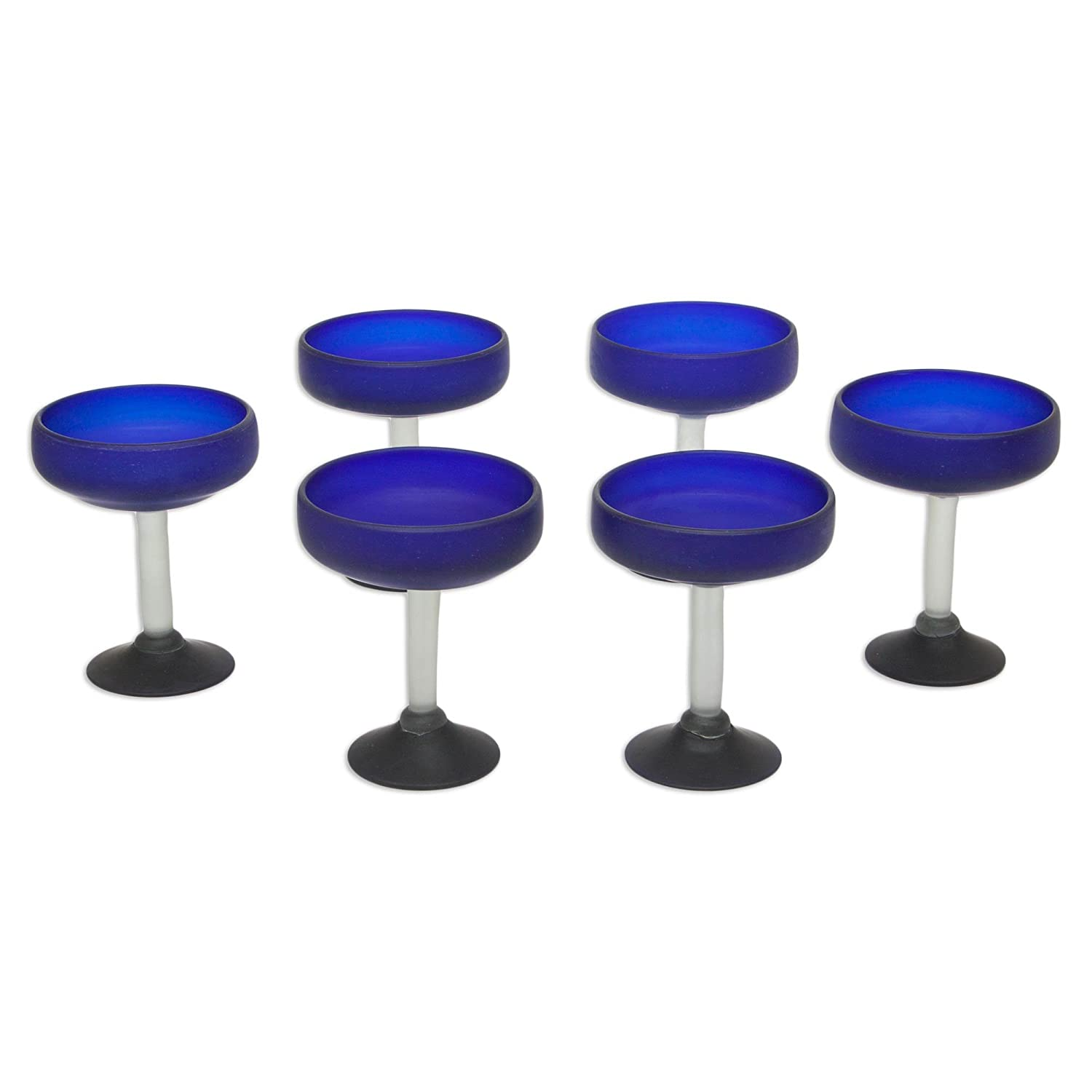 NOVICA 49235 Frozen  Margarita Glasses Set Of 6 6Tall Blue