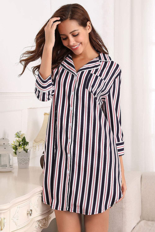 Memory baby Women/'s Boyfriend Sleep Shirt Dress Striped Button Down Cotton Ni...